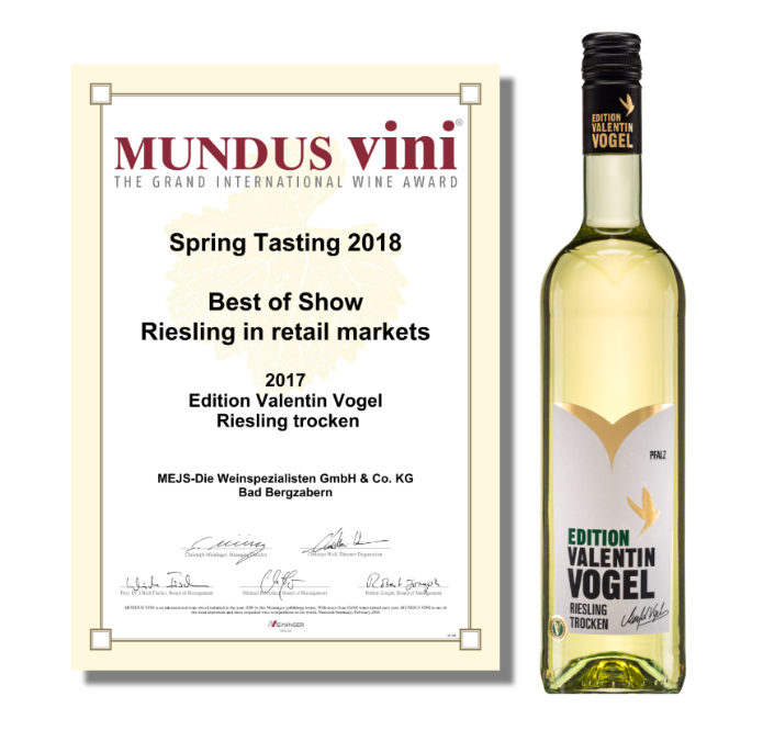 MUNDUS VINI: Best of show Riesling 2017 for Valentin Vogel